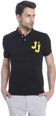 Jack & Jones Solid Mens Polo Neck Black T-Shirt