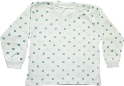 Upside Down Polka Print Baby Girl,s, Baby Boy's Round Neck Light Blue T-Shirt