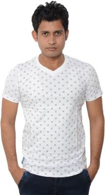 Lampara Polka Print Men's V-neck White T-Shirt