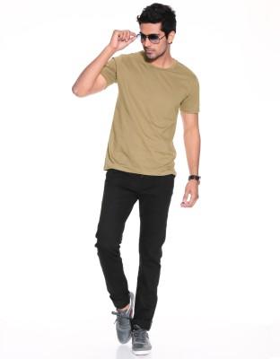 Purys Solid Men,s Round Neck Light Green T-Shirt