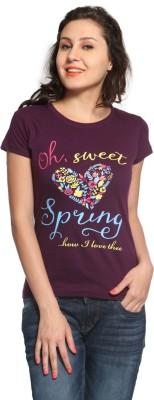 Maatra Printed Women,s Round Neck Purple T-Shirt