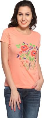 Maatra Printed Women,s Round Neck Orange T-Shirt