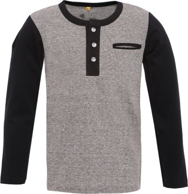 Insta Fab Solid Boy's Henley Grey T-Shirt