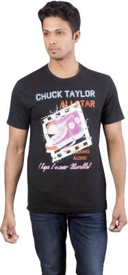 Oviyon Printed Men's Round Neck Black T-Shirt
