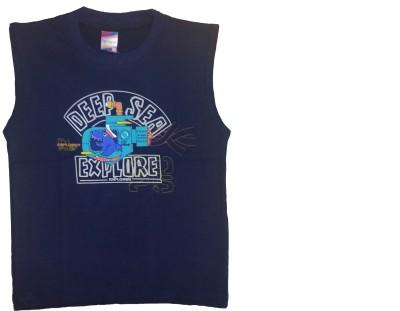 Cheeky Duck Graphic Print Boy's Round Neck Dark Blue T-Shirt