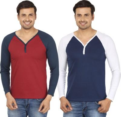Jangoboy Solid Men,s V-neck Maroon, Dark Blue T-Shirt