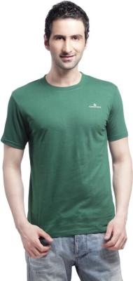 Cross Creek Solid Men's Round Neck Green T-Shirt