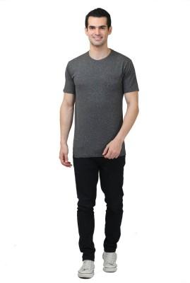 HASH TAGG Self Design Men's Round Neck Brown T-Shirt