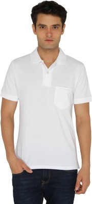 Chromozome Solid Men's Polo Neck White T-Shirt
