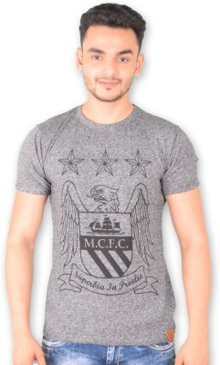 Manchester City FC Printed Men's Round Neck Grey T-Shirt
