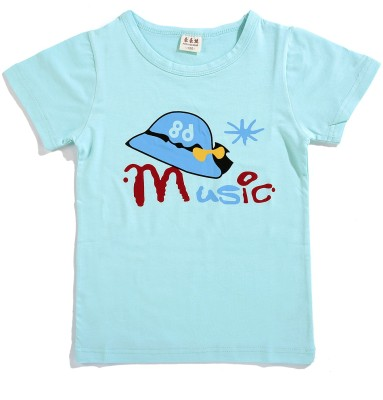 Zonko Style Solid Baby Girl's Round Neck Light Blue T-Shirt