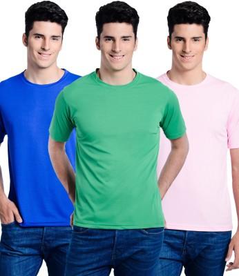 Superjoy Solid Men's Round Neck Pink, Green, Blue T-Shirt