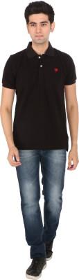 Tasho Zaara Solid Men's Polo Neck Black T-Shirt