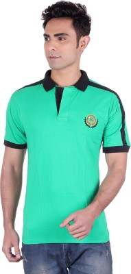 District London Solid Men's Polo Neck Green T-Shirt