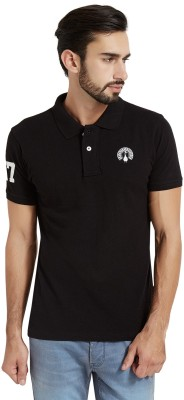 The Indian Solid Men's Polo Neck Black T-Shirt