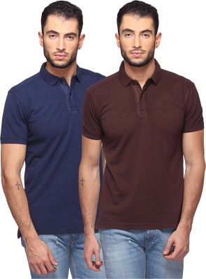 GOAT Solid Men's Polo Neck Dark Blue, Brown T-Shirt