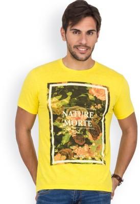 Blue Monkey Printed Men's Round Neck Yellow T-Shirt