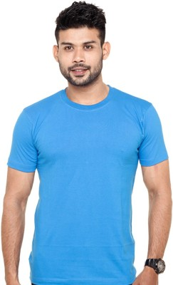 Tripr Solid Men's Round Neck Blue T-Shirt