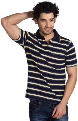 YOO Striped Men's Polo Neck Yellow T-Shirt