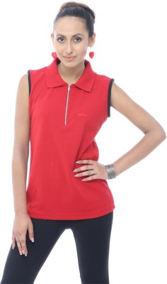Unicolr Solid Women's Polo Neck Red, Black T-Shirt