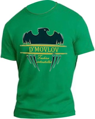 D,Movlov Printed Men's Round Neck Green T-Shirt