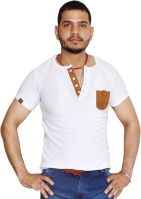 allrugget Printed Boy's Round Neck White, Brown T-Shirt