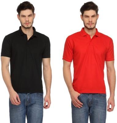Davie Jones Solid Men's Polo Red, Black T-Shirt