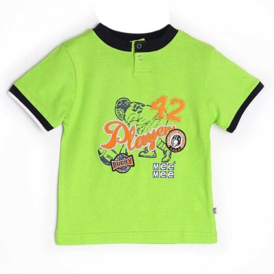 Mee Mee Graphic Print Boy's Round Neck Green T-Shirt