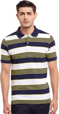 The Vanca Striped Men's Polo Neck White T-Shirt