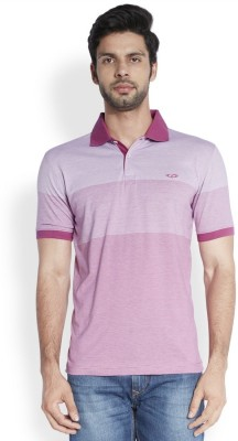 ColorPlus Striped Men's Polo Neck Red T-Shirt
