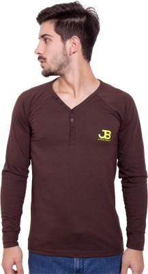 Jangoboy Solid Men's V-neck Brown T-Shirt