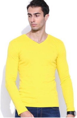 Smilebynature Solid Men's V-neck Yellow T-Shirt
