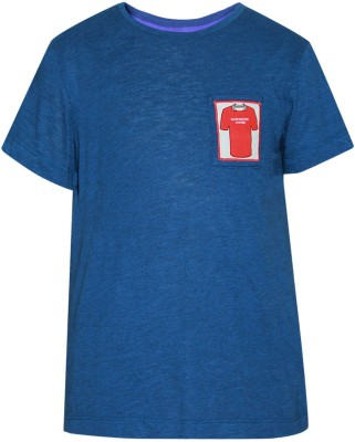 The Cranberry Club Solid Boy's Round Neck Blue T-Shirt