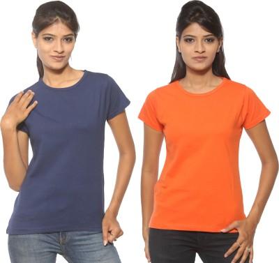 Threadz Solid Women's Round Neck Dark Blue, Orange T-Shirt