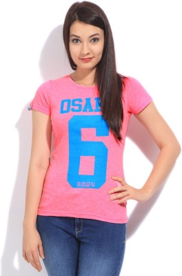 Superdry Printed Women's Round Neck Pink T-Shirt