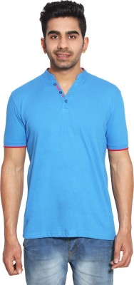 LE BON TON Solid Men's V-neck Blue, Orange, Black, White, Yellow T-Shirt