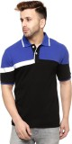 Gritstones Solid Men's Polo Neck Blue, B...