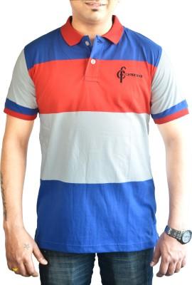 CAPRICIOUS Striped Men's Polo Neck Blue, Red, White T-Shirt