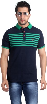 Nostrum Jeans Striped Men's Polo Neck Dark Blue, Green T-Shirt