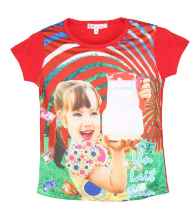 Eimoie Graphic Print Girl's Round Neck Red T-Shirt