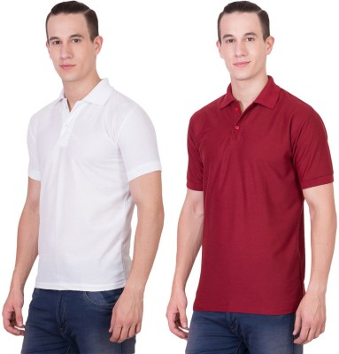 Randier Solid Men's Polo Neck White, Maroon T-Shirt