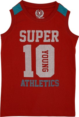 SuperYoung Graphic Print Boy's Round Neck Red T-Shirt