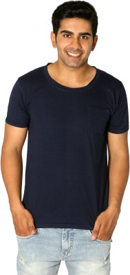 Style Connect Solid Men's Round Neck Blue T-Shirt