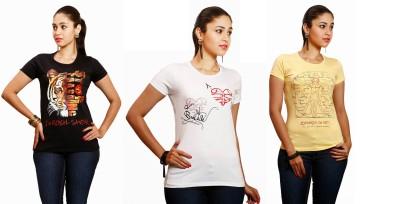 Yaari V4c Printed Women's Round Neck White, Yellow, Black T-Shirt