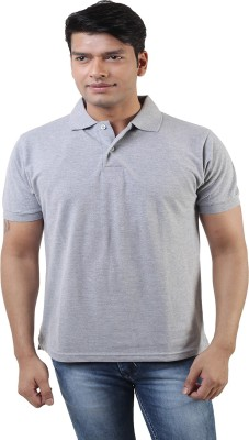 Lee Mark Solid Men's Polo Neck Grey T-Shirt