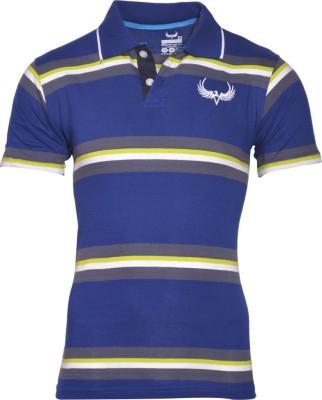 Avenster Sport Striped Men's Polo Neck Blue T-Shirt