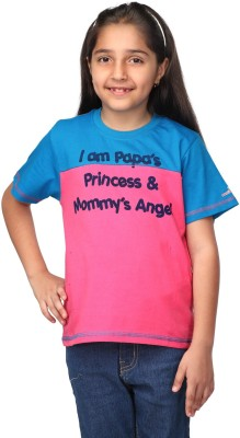 Oleva Printed Girl's Round Neck Pink T-Shirt