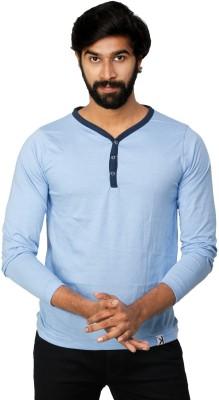 0EM Self Design Men's Henley Blue T-Shirt