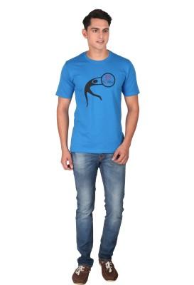 Tohfaa Printed Men's Round Neck Blue T-Shirt