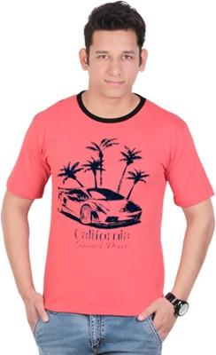 KASTURI Printed Men's Round Neck Pink T-Shirt